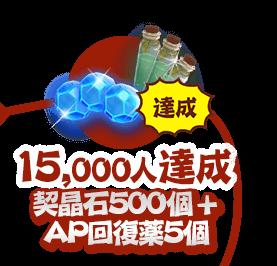 15000人達成:契晶石500個 + AP回復薬5個