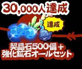 30000人達成:契晶石500個 + 強化鉱石オールセット