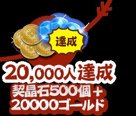 20000人達成:契晶石500個 + 20000ゴールド