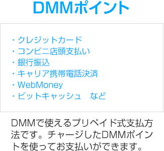 DMMポイント DMMで使えるプリペイド式支払方法です。チャージしたDMMポイントを使ってお支払いができます。