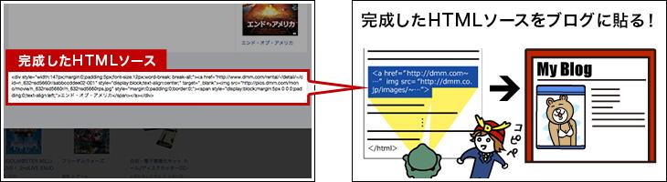出来上がったHTMLソースを、ご自分のサイトやブログ記事に貼り付ければアフィリエイトリンクの完成です!